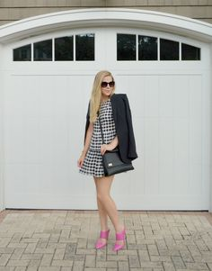 Black and white gingham with pink shoes