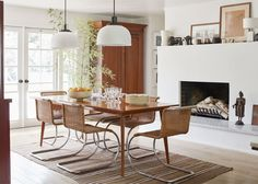 a mix of midcentury meets classic ranch style in this dining room | house tour on coco kelley
