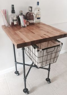 Butcher Block Island W/ Slide Out Basket On A Steel Pipe Frame And Locking