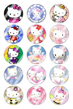 "Hello Kitty Bottle Cap 1"" Circle Images Sheet #1 (instant download or pre cut)"