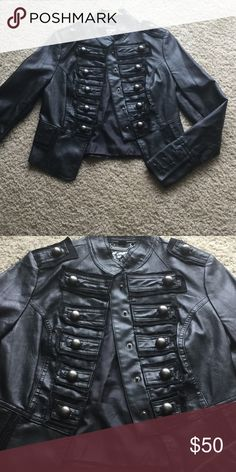 Army type leather jacket Not genuine leather, fits so cute on and very unique Jackets & Coats