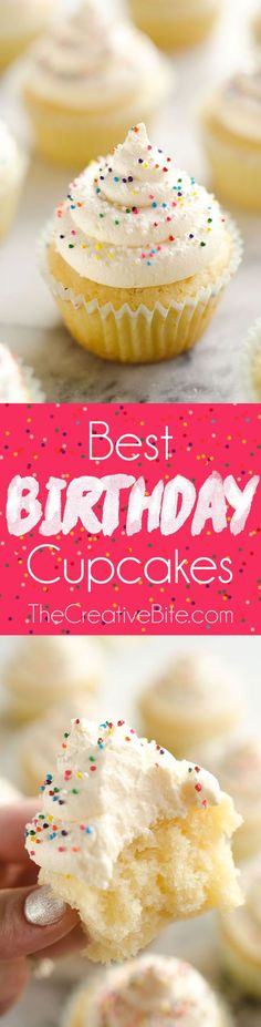 Best Birthday Cupcakes are the perfect dessert recipe for your special celebration! A light and moist homemade vanilla cake is topped with the perfect whipped buttercream and colorful sprinkles for a sweet treat everyone will love.