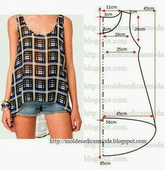 cute tank top pattern - free sewing patterns on portugese website Diy Clothing, Sewing Clothes, Clothing Patterns, Dress Patterns, Sewing Patterns, Shirt Patterns, Easy Patterns, Sewing Hacks, Sewing Tutorials
