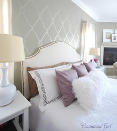 I love this bedroom wall!  Found this on Centsational Girl site, love the gray wall and lattice stencil work.  I think I'm going to try this!