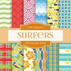 Surfin' Safari Digital Paper DP2124 - Digital Paper Shop - 1