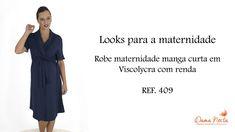 409 - Robe maternidade manga curta em Viscolycra com renda. Curtas CharmosaGestanteAcabamentoCamisolaGolasMaternidadeRendaFeminino 2aca72e4c6121