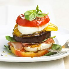 Tomato and Grilled Veggie Stack You will love this unique sandwich that starts with grilled eggplant and sweet pepper layered with slices of tomato, fresh mozzarella, and prosciutto. Prepare this recipe in less than 30 minutes.