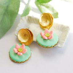 Lotus pond earrings by joojooland on Etsy