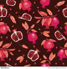 Seamless Pattern With Pomegranates Illustration 33387807 Yalda Night, Pomegranate Art, Nail Art Techniques, Watercolor Food, Tile Wallpaper, Print Design, Graphic Design, Fruit Slice, Cute Fruit