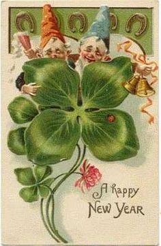 Vintage Happy New Year Card ~Tipsy-Gnomes, horse-shoes, 4 leaf-clover & a tiny Ladybug Vintage Happy New Year, Happy New Year Cards, New Year Greeting Cards, New Year Greetings, Vintage Greeting Cards, Vintage Ephemera, Vintage Postcards, Illustration Noel, Illustrations