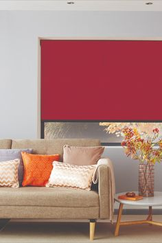Red is the color our eyes are drawn to first in a room. Make a bold statement with punchy red blinds on your windows! Red Blinds, Roller Blinds, Blinds For Windows, Curtains With Blinds, Blinds Online, Interior Styling, Interior Design, Window Styles, Red Interiors