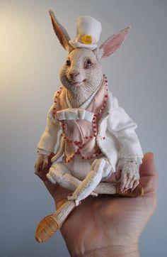 Lapin blanc personnalisé Anthro Art Doll par doters sur Etsy