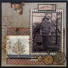 Family Memories...awesome masculine page with a great mix of background patterns, cute dictionary page, pocket watches and tree silhouettes.