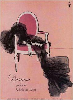Rene Gruau ad : Diorama, a Christian Dior perfume - ad - vintage -poster Dior Vintage, Perfume Vintage, Vintage Beauty, Vintage Ads, Vintage Posters, Vintage Fashion, Vintage Lingerie, Rosa Vintage, 1950s Fashion