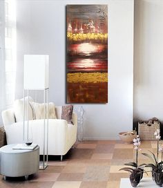 ORIGINAL Abstract Art Orange Sunset Sunrise Acrylic Painting Wall Art  Canvas Ready To Hang Home Decor Modern Wall Art Modern Office Decor