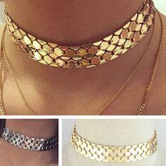Punk Women Gold Silver Tone Geometric Bib Choker Statement Necklace Jewelry Gift