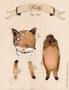 fox paper doll illustration