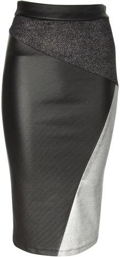 Jane Norman Black Metallic Cut About Pencil Skirt