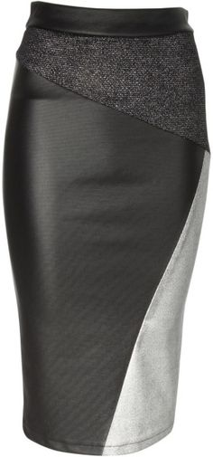 Jane Norman Black Metallic Cut About Pencil Skirt