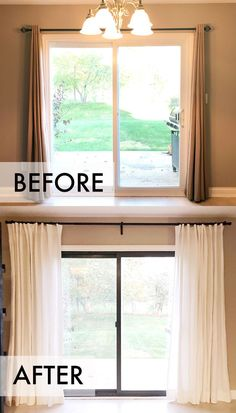 Sliding Door And Curtain Upgrade On A Budget With Paint Ikea Ritva Curtains
