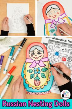 Need a fun & easy distance learning art project for elementary kids? Create folk art Matryoshka Russian Nesting Dolls with markers & crayons. Art game, too! Lessons For Kids, Projects For Kids, Art Projects, Art History Lessons, Art Lessons, Art Games For Kids, Multicultural Activities, Importance Of Art, Habits Of Mind