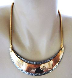 "80s WJN Choker Bib Necklace Metal Crescent Bi-tone Retro Costume Jewelry 16"" #WJN #Choker"