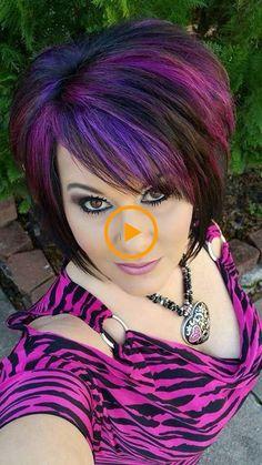 Unique hair colors for short hair - Hair do's Unique Hairstyles, Bob Hairstyles, Haircuts, Haircut And Color, Hair Highlights, Color Highlights, Peekaboo Highlights, Great Hair, Purple Hair
