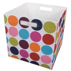 colourful fabric polka dot bins from Target!                                                                  Available at: Target                                      Retail: $9.99