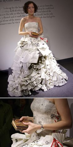 Once upon a time, Jennifer Pritchard Couchman created this custom dress — made from multiple copies of Angela Carter's Book of Fairy Tales for contemporary fairy tale author Claire Massey.