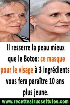 Il resserre la peau mieux que le Botox: ce masque pour le visage à 3 ingrédients vous fera paraître 10 ans plus jeune.#soinpeau#soinvisage#bellepeau#masquevisagenaturelles#beauté Face, Beauty, Face Peel Mask, Beauty Recipe, Stuff Stuff, Tighten Skin, Face Wrinkles, Beleza, Faces
