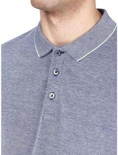 Indigo Two Tone Pique Polo Shirt - Burton Menswear Pique Polo Shirt, Polo Shirts, Burton Menswear, Camisa Polo, Indigo, Fitness, Fabric, Model, Cotton