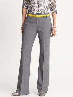 business casual, love the yellow belt  with the grey