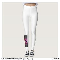 EDM More than Music pixel Leggings : Beautiful #Yoga Pants - #Exercise Leggings and #Running Tights - Health and Training Inspiration - Clothing for #Fitspiration and #Fitspo - #Fitness and #Gym #Inspo - #Motivational #Workout Clothes - Style AND comfort can both be achieved in one perfect pair of unique and creative yoga leggings - workout and exercise pants - and running tights - Each pair of leggings is printed before being sewn allowing for fun designs on every square inch - Medium…