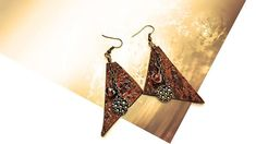 Dangle drop earrings, geometric triangl long leather earrings, tribal style earrings for woman by GunaDesign