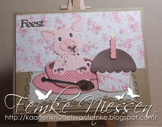 Made by Femke Niessen: Piglet in chocolate milk. Eline's collectables: piglet. Marianne Design creatables: cupcake, anja's square. Craftables: Cup and saucer.