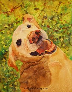 Water Color : Yellow Lab watercolor print. by CatladyWatercolors