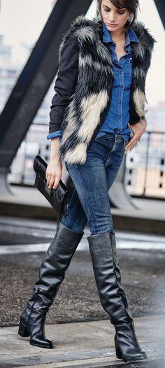 Overkneestiefel, Blockabsatz, Leder | Stiefel | Schuhe | Fashion