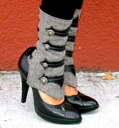 Ashes and Empires: Lucia Military #Spats - Grey Herringbone with black #heels $173
