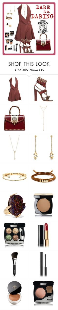 """""""To Dare"""" by mary-kay-de-jesus ❤ liked on Polyvore featuring John Galliano, Etro, Gucci, Fragments, EF Collection, David Yurman, Delfina Delettrez, Jules Smith, Christopher Kane and Chanel"""
