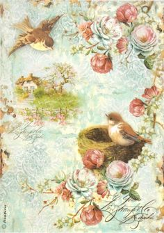 Rice Paper for Decoupage, Scrapbook Sheet, Craft Paper Birdcage & Roses