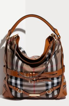 Free shipping and returns on Burberry 'House Check' Hobo, Large at Nordstrom.com. An assortment of strappy leather belts corsets a slouchy, check-patterned hobo branded with a logo-engraved plate near the base. A rolled handle and an optional shoulder strap provide convenient carrying options.