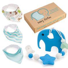 Teether Pacifier Clip & Elephant Teething Toy Bandana Bibs Unique Set Baby Boy  #BabyElefun