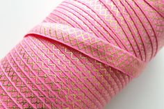5/8 Fold Over Elastic Hot Pink Gold Moroccan Pattern by PeakBloom