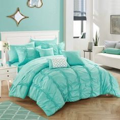 Beaming Teen Girl Bedrooms pin 9397627579 - A handy resource on teen girl room information. For extra incredible styling ideas please push the image link today. Tiffany Blue Bedroom, Bedroom Turquoise, Elegant Comforter Sets, Bedding Sets, Teal Comforter, King Comforter, Girl Bedroom Designs, Teen Girl Bedrooms, Dream Rooms