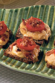 Get your party started with mini open-faced turkey sandwiches. Pile turkey, bacon, and cheese high on pumpernickel for a guaranteed party hit.Recipe:  Baby Hot Browns