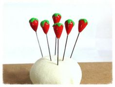 Set of 6 Strawberry Pin Toppers, Polymer Clay Sewing Pins - PT41 by PinkDragonflyCrafts for $7.50