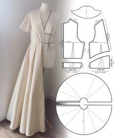 Skirt Patterns Sewing, Sewing Patterns Free, Clothing Patterns, Patterns For Dresses, Sewing Designs, Skirt Sewing, Vintage Dress Patterns, Crochet Patterns, Diy Clothing