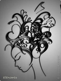 Картина панно рисунок Мастер-класс Квиллинг Профиль девушки + мини МК Бумажные полосы фото 11