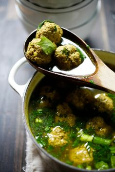 Kofta Soup + Spinach. Would love to have some of this sitting in my fridge to come home to on a cold day like today.