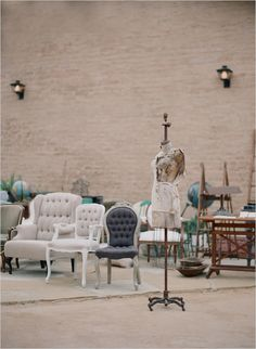 lovely vintage chairs & goodies for rent? {found vintage rentals} Vintage Chairs, Vintage Furniture, Chic Wedding, Rustic Wedding, Wedding Decor, Wedding Ideas, Early Spring Wedding, Great Gatsby Theme, Wedding Furniture